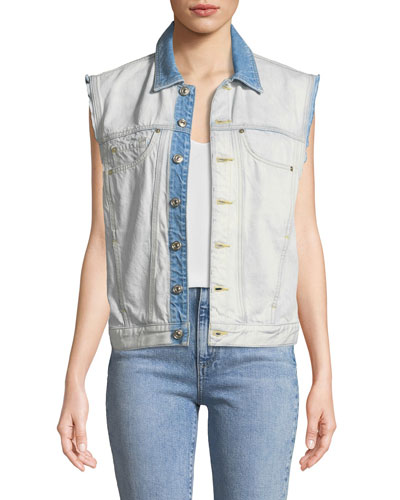 Oversize Button-Front Denim Vest