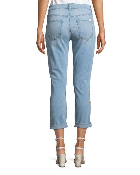 Slim Boyfriend Tropics Embroidery Jeans