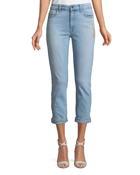 JEN7 BY 7 FOR ALL MANKIND SLIM BOYFRIEND TROPICS EMBROIDERY JEANS
