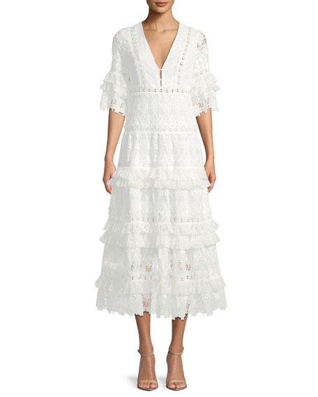 Hazelle Short-Sleeve Lace Midi Cocktail Dress