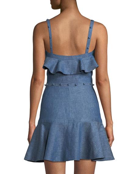 Jodie Button-Front Ruffle Cotton Chambray Dress