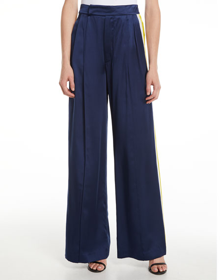 Alexis Nicoli Silk Side-Stripe Pants