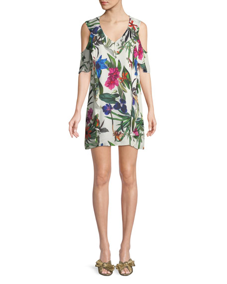Glory Floral Cold-Shoulder Ruffle Mini Dress