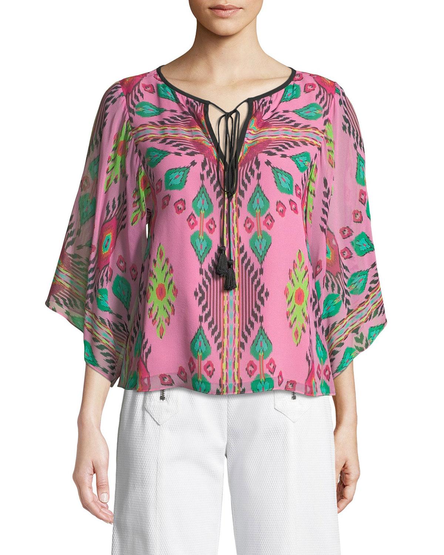 fcf6477b44814a Nanette Lepore Mayaguana Tie-Neck Silk Top