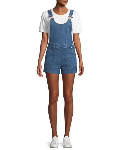 Side-Button Denim Shortalls