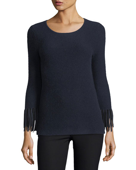 Neiman Marcus Cashmere Collection Cashmere Pullover w/ Suede