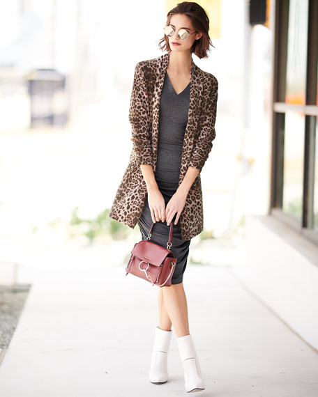 Leopard-Print Cashmere Duster Cardigan