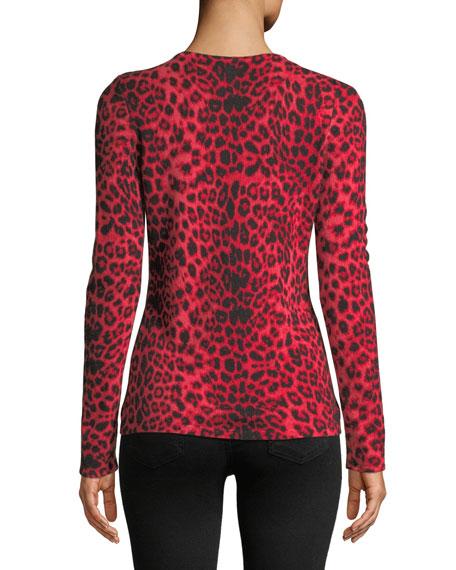 Leopard-Print Cashmere Pullover Sweater