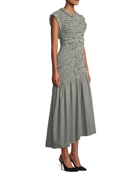 Gathered Gingham Drop-Waist Dress