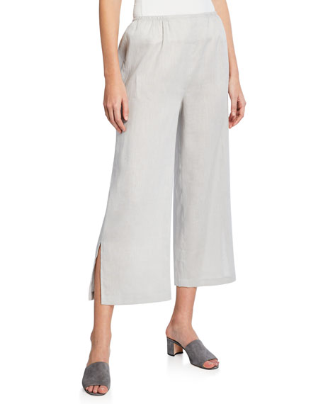 Caroline Rose Tissue Linen Wide-Leg Pants, Plus Size