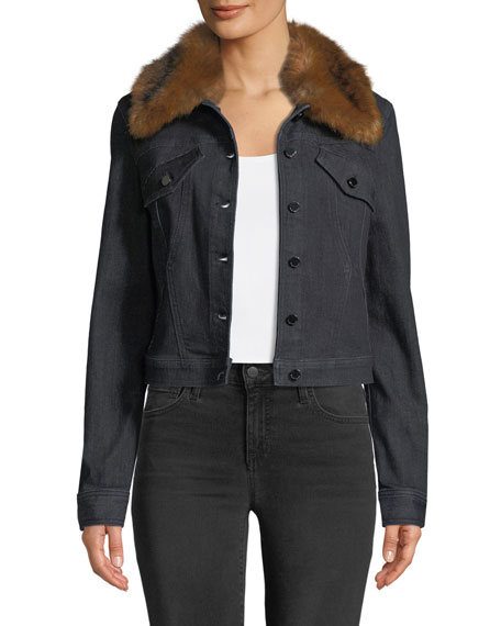 Elie Tahari Meggy Denim Jacket w/ Faux-Fur Collar