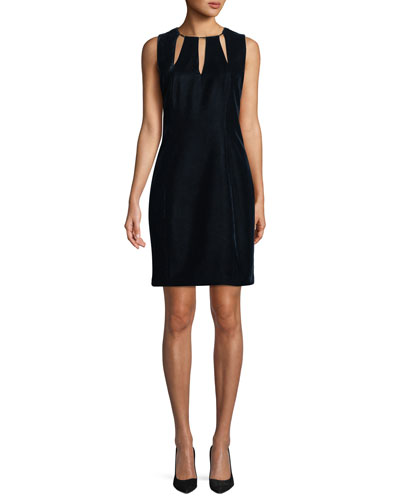 Jemra Sleeveless Velvet Sheath Dress