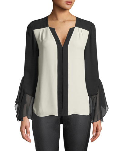 Margita Two-Tone Silk Blouse