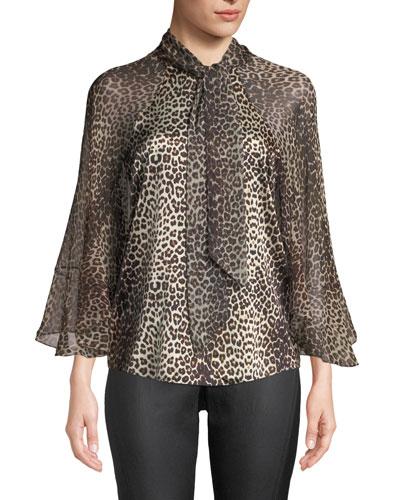 Matilda Leopard-Print Silk Blouse