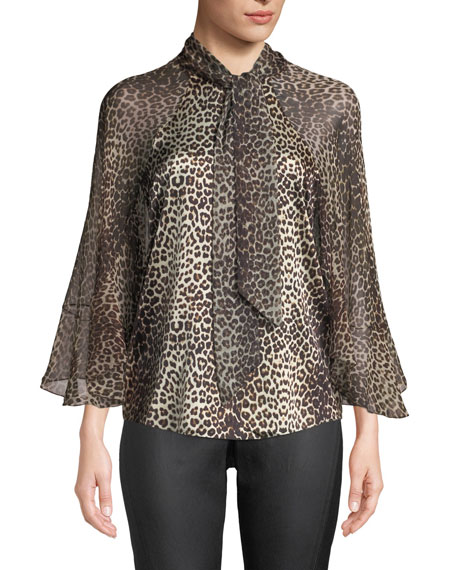 Elie Tahari Matilda Leopard-Print Silk Blouse and Matching