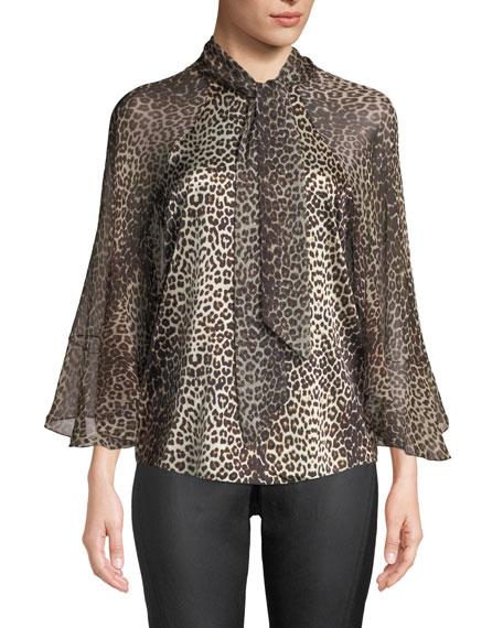 Elie Tahari Matilda Leopard-Print Silk Blouse