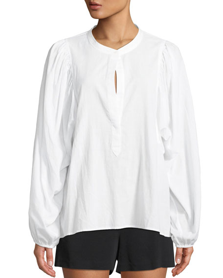 Sawyer Blouson-Sleeve Poplin Top
