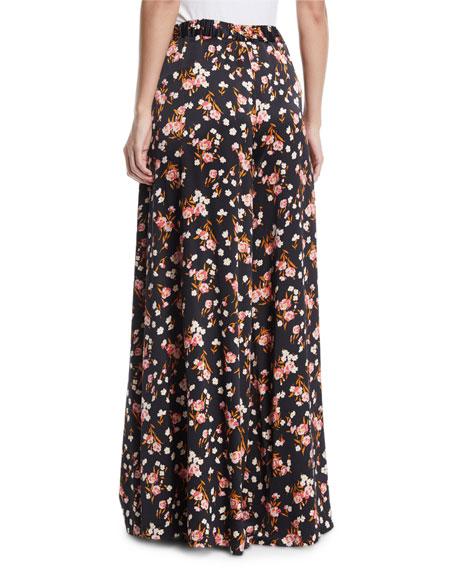 A.L.C. Seton Floral-Print Wide-Leg Silk Pants