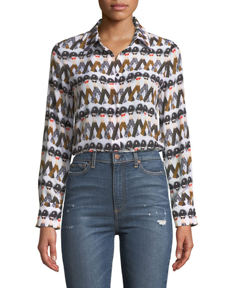 X Donald Robertson Willa Crazy Pants Printed Silk Button-Down Top