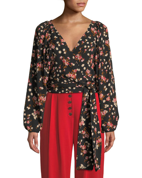 A.L.C. Carla Floral Silk Wrap-Front Top