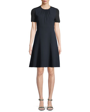 4656a9f2 Elie Tahari Caliana Ruched Jewel-Neck Short-Sleeve Fit-and-Flare Crepe