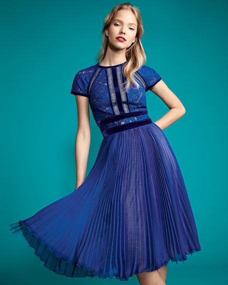 Cap-Sleeve Lace Cocktail Dress w/ Pleated Chiffon
