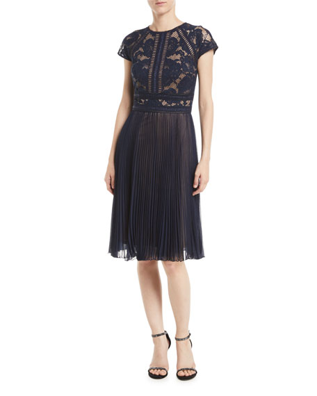 Tadashi Shoji Cap-Sleeve Lace Cocktail Dress w/ Pleated