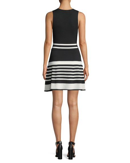 Madelina Striped Knit Sleeveless Dress