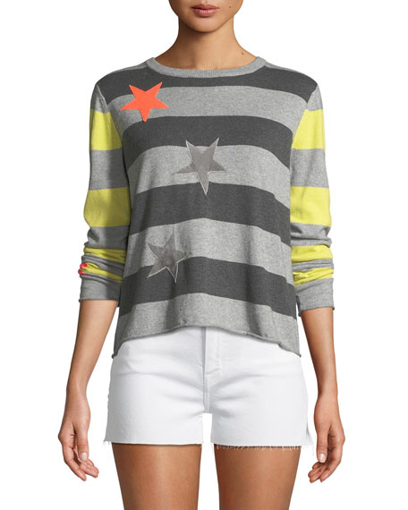 Lisa Todd Lucky Star Striped Cotton/Cashmere Sweater, Petite