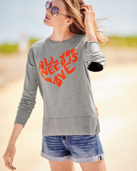 All You Need is Love w/ Heart Intarsia Sweater, Plus Size