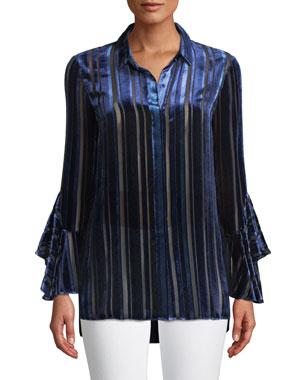 4636b97a893 Elie Tahari Button-Front Draped-Sleeve Striped Velvet Burnout Blouse