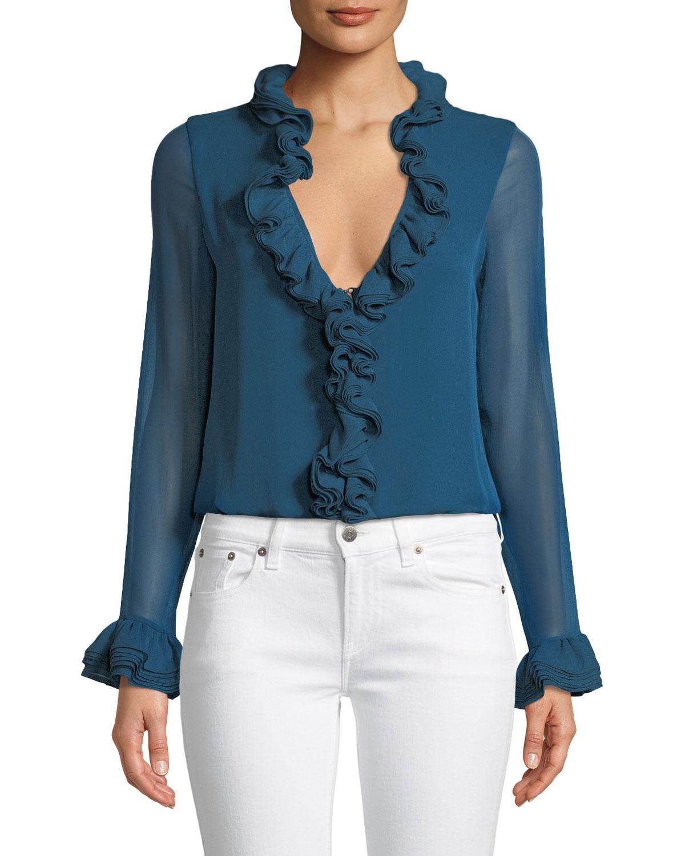 a3e7f6ff215956 Elie Tahari Chandana Ruffled V-Neck Long-Sleeve Silk Blouse