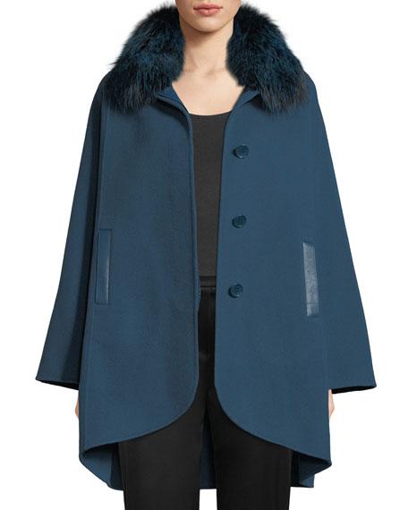 Howie Fox-Fur Collar Button-Front Jacket