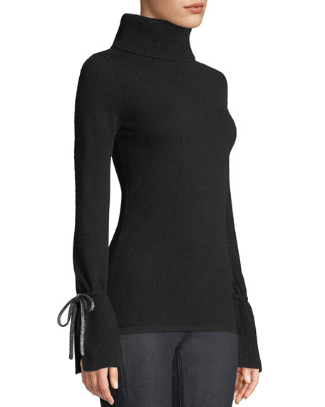 Neiman Marcus Cashmere Collection Bell-Sleeve Turtleneck Cashmere
