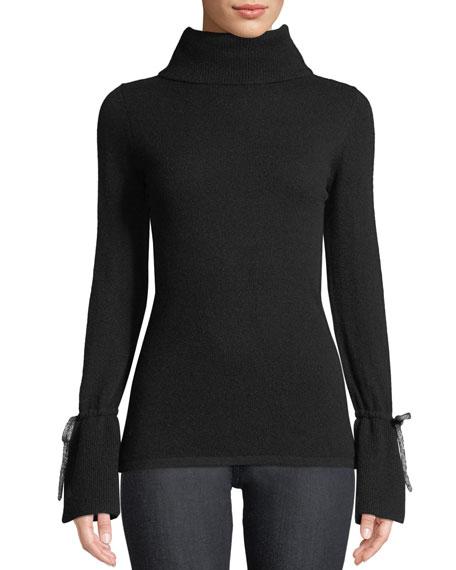 Bell-Sleeve Turtleneck Cashmere Sweater