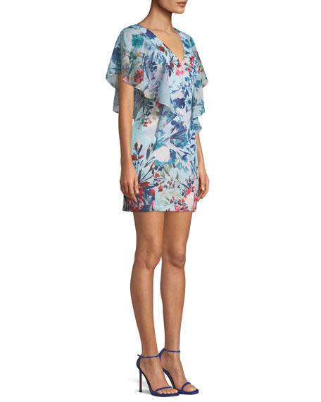 Parker Black Reba Floral Flutter-Sleeve Mini Dress