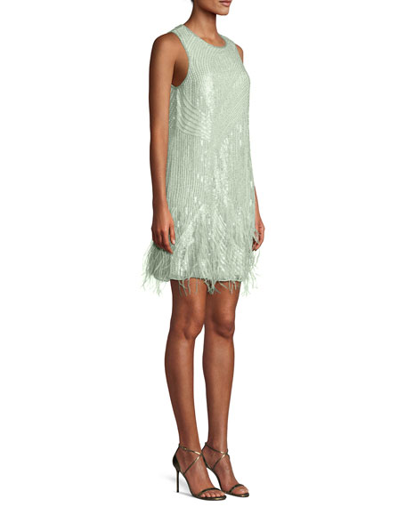 Allegra Sequin Mini Cocktail Dress w/ Feathers