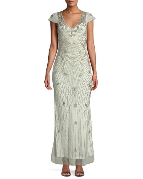 Conzuelo V-Neck Beaded Gown