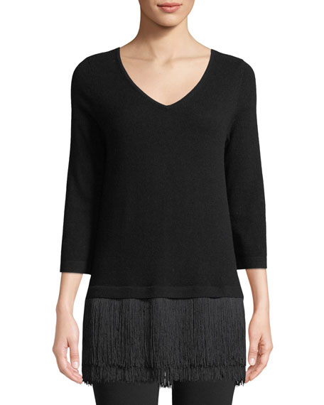 Neiman Marcus Cashmere Collection Fringe-Trim V-Neck Cashmere