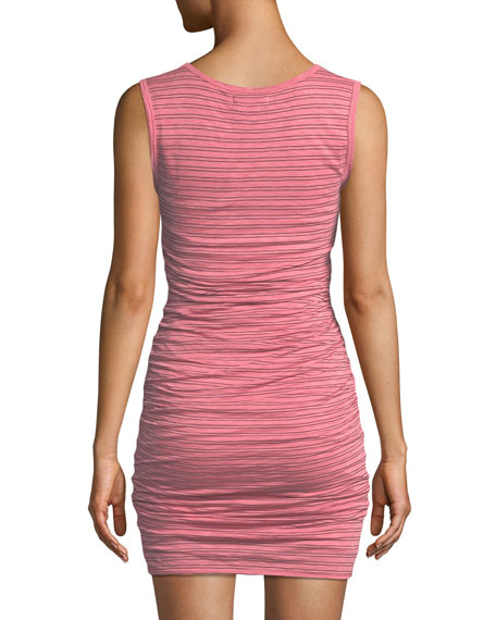 Genisa Scoop-Neck Ruched Stripe Tank Dress