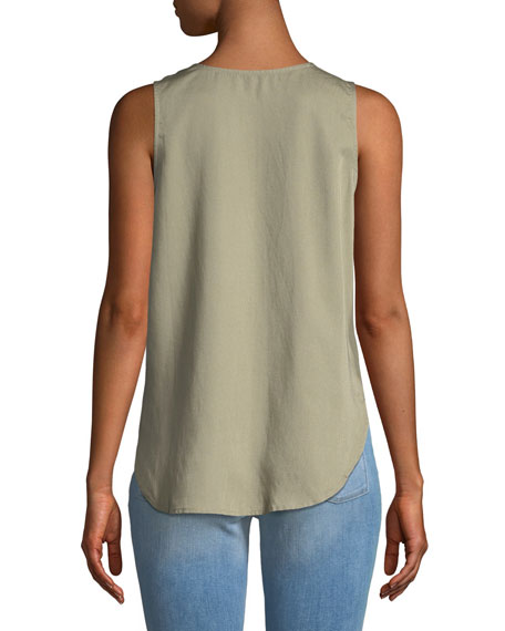 N6th Berry Scoop-Neck Sleeveless Button-Front Top