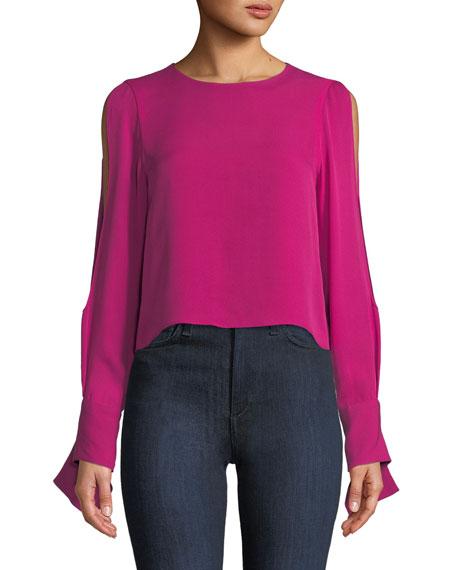 Addy Open-Sleeve Silk Blouse