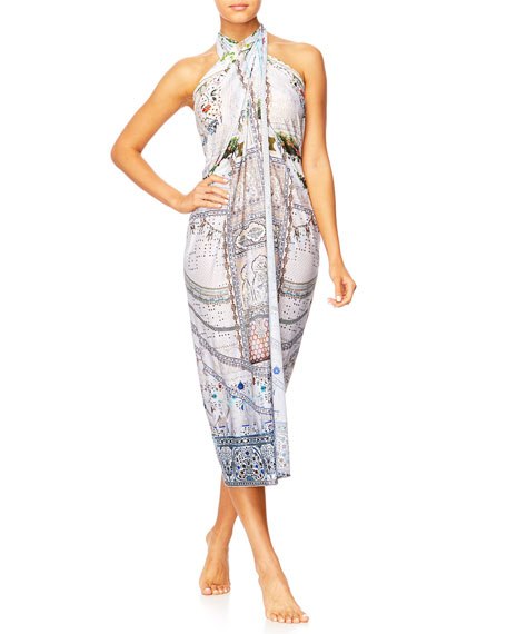 The Long Way Home Printed Sarong Coverup