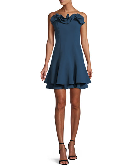 Image 1 of 4: cinq a sept Tansy Strapless Ruffle Cocktail Dress