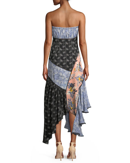 cinq a sept Sabrina Strapless Floral Patchwork Dress