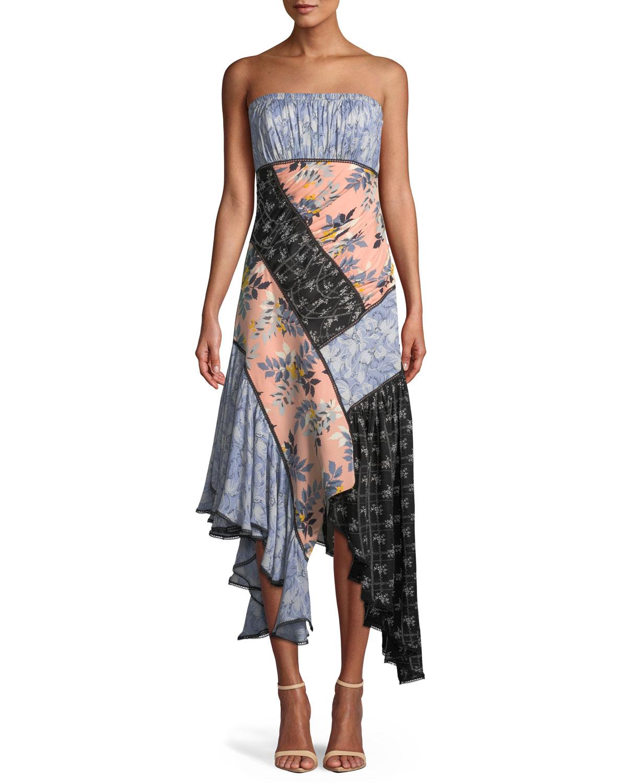 cinq a sept Sabrina Strapless Floral Patchwork Dress ...