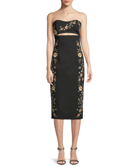 Clemence Strapless Cutout-Waist Crepe Sheath Dress