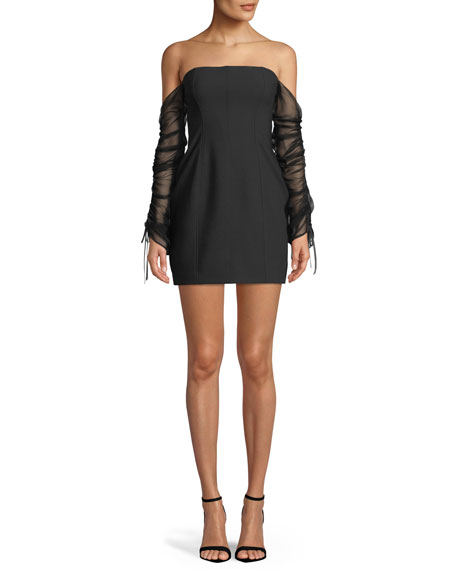 Anastasia Off-the-Shoulder Long-Sleeve Mini Cocktail Dress