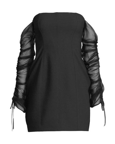 Anastasia Off-the-Shoulder Long-Sleeve Mini Cocktail Dress