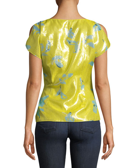 Bella Gathered Metallic Floral Top